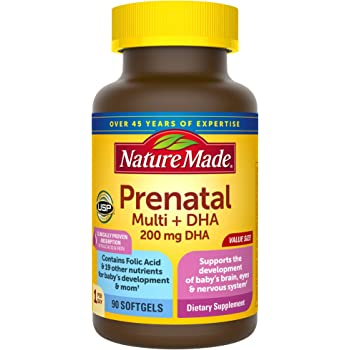 Nature Made Prenatal Multivitamin + DHA Softgel with Folic Acid, Iodine and Zinc, 90 Count (Packaging May Vary)