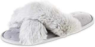 isotoner Women's Fuzzy Slipper, Cozy Open Toe Flip-Flop with a Furry Cross Band and Plush Fluffy Terry Cushion