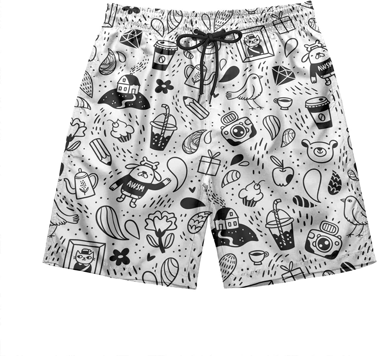 Intimate Gift Mens Cool Swimming Trunks Attractive Cute Dog Animal Sports Shorts