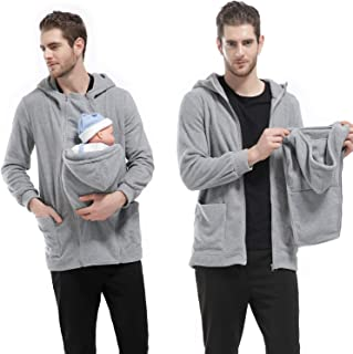 Men's Zip up Maternity Kangaroo Hooded Sweatshirt Pullover 2 in 1 Baby Carriers