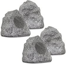 Theater Solutions 4R4G New Wired Outdoor Garden Waterproof Granite Rock Patio Speakers (set of 4)
