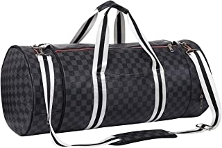 Travel Duffel Bag, Oversized PU Leather Weekend bag with Shoe Compartments, Water-proof & Tear Resistant Large Sport Holdall Travel Overnight Weekender Hand Gym Bag for Women Men