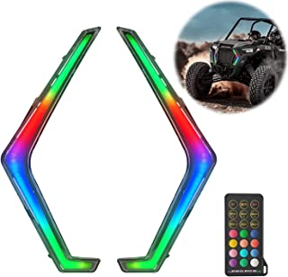 Adust Turn Signal Fang Light, IP67 RZR 1000 Fang Remote Control Spiral RGB Chase Light Compatible with 2019 2020 2021 Pola...