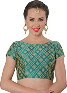 Studio Shringaar Women's Brocade and Georgette Benaras Readymade Saree Blouse with Boat Neck and Short Sleeves