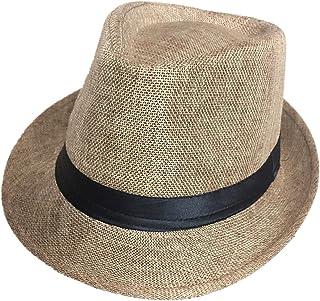 OULII Ocio Unisex Sombreros de Playa Panama Sun Hat Jazz Sombreros Cowboy Gangster Cap para Mujeres Hombres (Caqui)