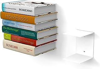 1Grande Blanca Estantería invisible con 2compartimentos para libros grandes hasta 30cm de profundidad y para 50cm de alto libros apilables