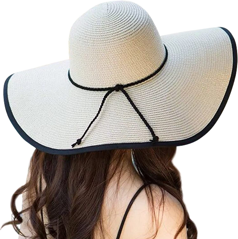 JOYEBUY Women Big Bowknot Straw Hat Floppy Foldable Roll up UV Predection Beach Cap Sun Hat