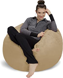 Sofa Sack - Plush, Ultra Soft Bean Bag Chair - Memory Foam Bean Bag Chair with Microsuede Cover - Stuffed Foam Filled Furniture and Accessories for Dorm Room - Camel 3'
