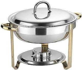 SHZICMY Set de chafing dish - 4 l - Rond - En acier inoxydable - Passe au lave-vaisselle - Avec récipient à pâte de carbur...