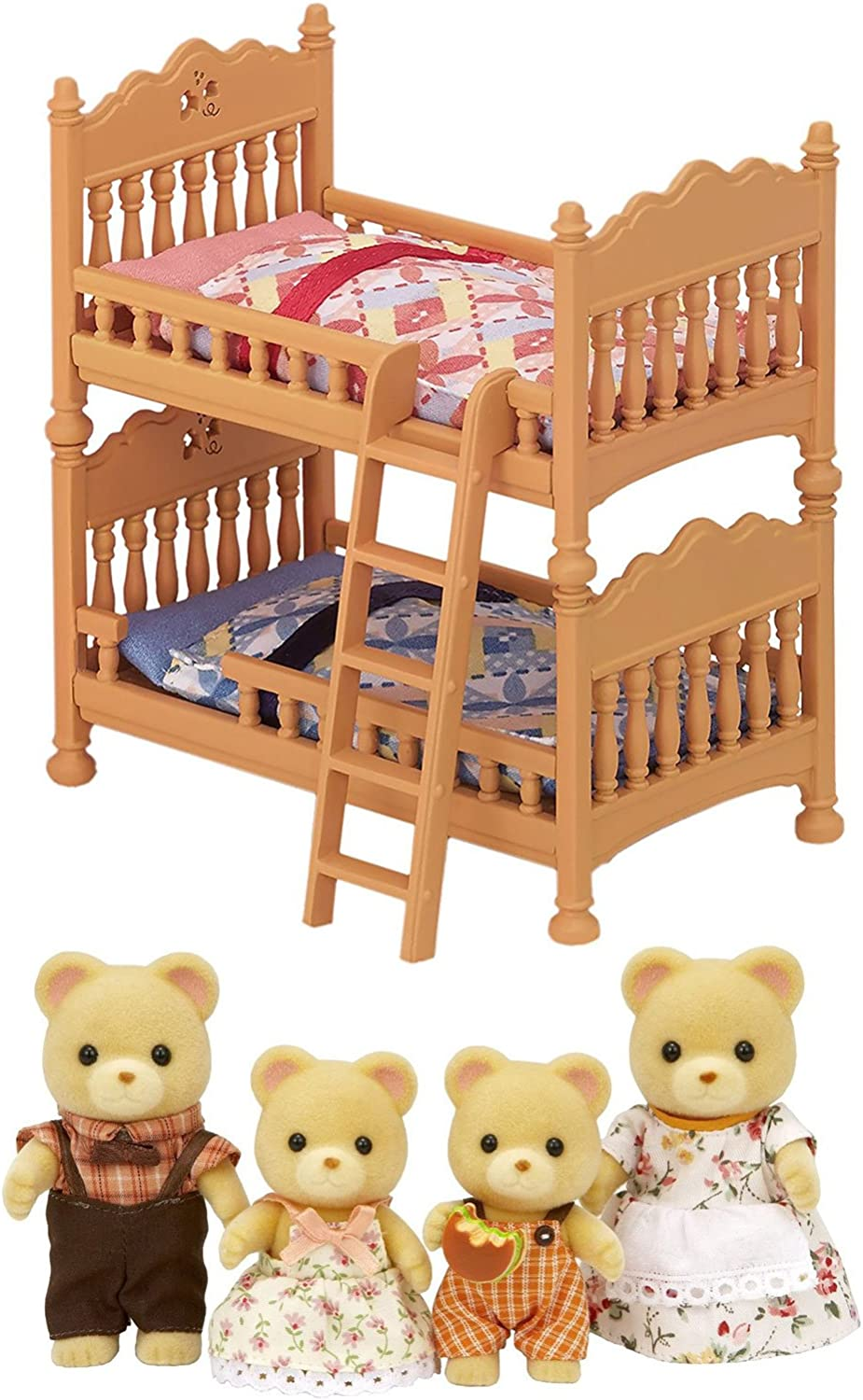 2 Calico Critters Sets  Bear Family and Double Bunk Bed Sold Together (Japan Import)