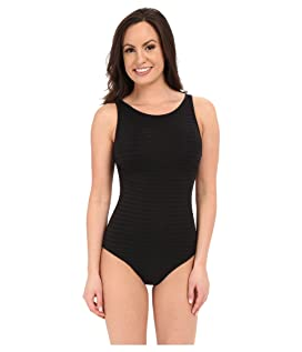 Parallels High Neck Overlay One-Piece Swimsuit
