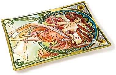 Amia Art Nouveau Dance Handcrafted Glass, Tray, Multicolored