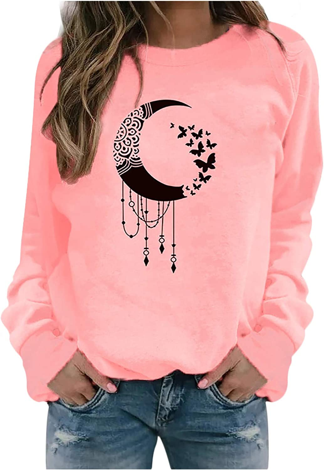 Sweatshirts for Women, Women's Funny Print Long Sleeve Crew Neck Sweatshirts Casual Sweaters Pullover Tops Shirts