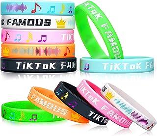 Kuufausi TIK TOK Themed Silicone Bracelet Party Supplies Stuff for Girls and Boys, TIK Tok Famous for TIK TOK Fans(12PCS)