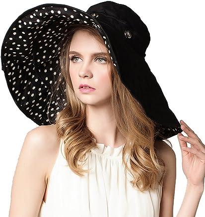 814b66d6b95 Roffatide Women s Multiuse Dual Large Brim Beach Sun Hat Bucket Visor Cap  UPF 50+