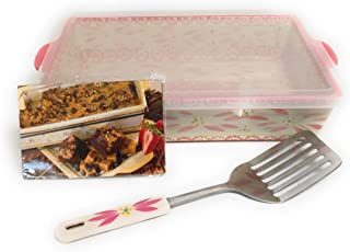 Temp-tations 4 Qt Baker Casserole Dish (13x9) with Plastic Cover, Serving Utensil, Recipes (Old World Pink) EW-F