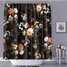 MACOFE Shower Curtain Fabric Shower Curtain Art Print Polyester Fabric,Waterproof, Machine Washable,Hooks Included,Bathroom Decoration Original Design Hand Drawing,71x71inch (Black Flower) …
