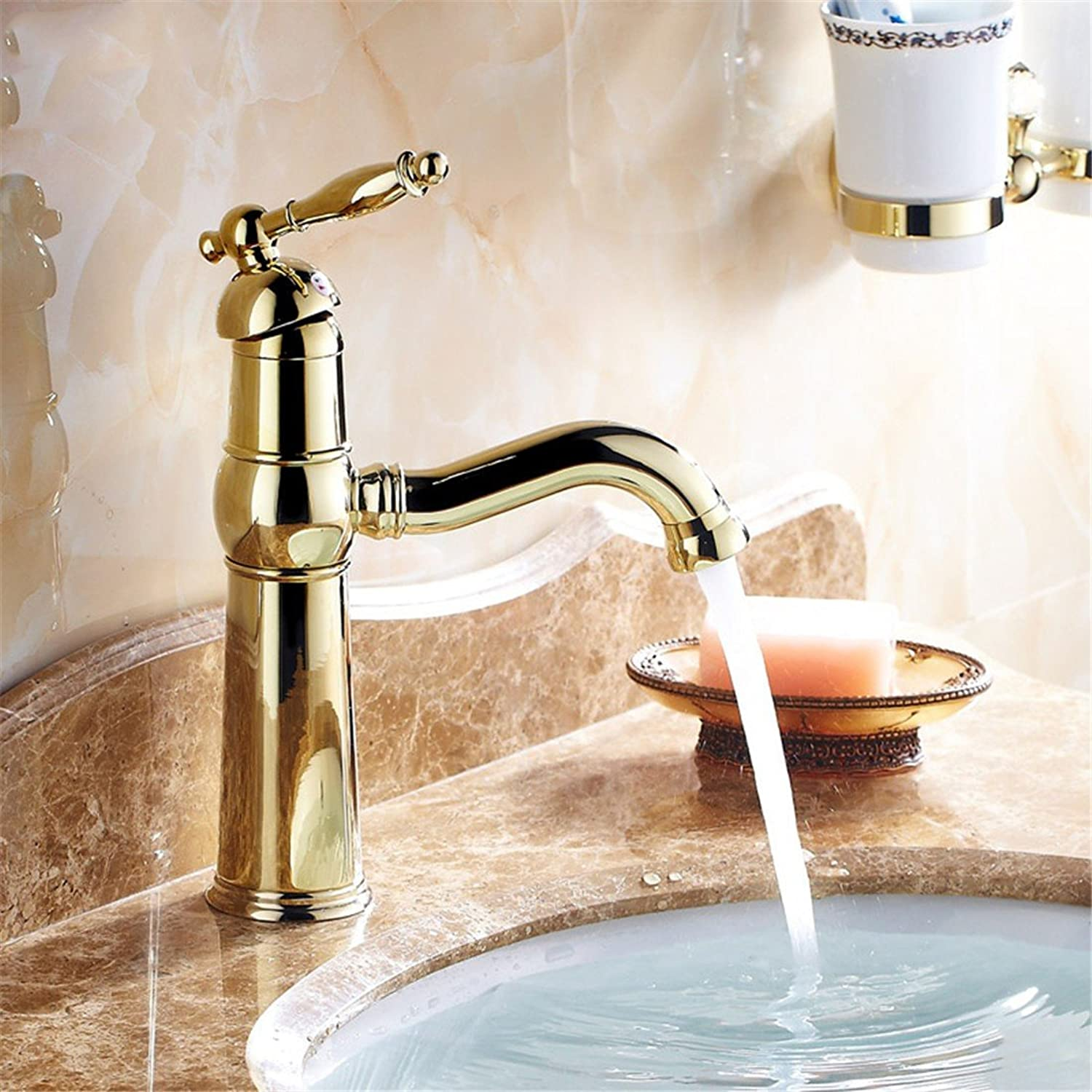 Hlluya Professional Sink Mixer Tap Kitchen Faucet The golden faucet hot and cold taps full copper bathroom plus high bluee-tiled table top basin gold plated antique taps, gold taps