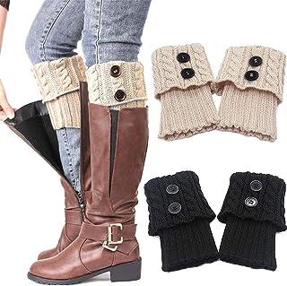 ZSWQ, Nuevos calcetines de puño corto con forma de festón, calcetines de pelo cálido, cubre pies en forma de V con forma de copo de nieve