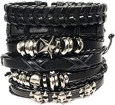 MUYOU Braided Leather Bracelets Men Women Wooden Beaded Bracelets Wrap Adjustable
