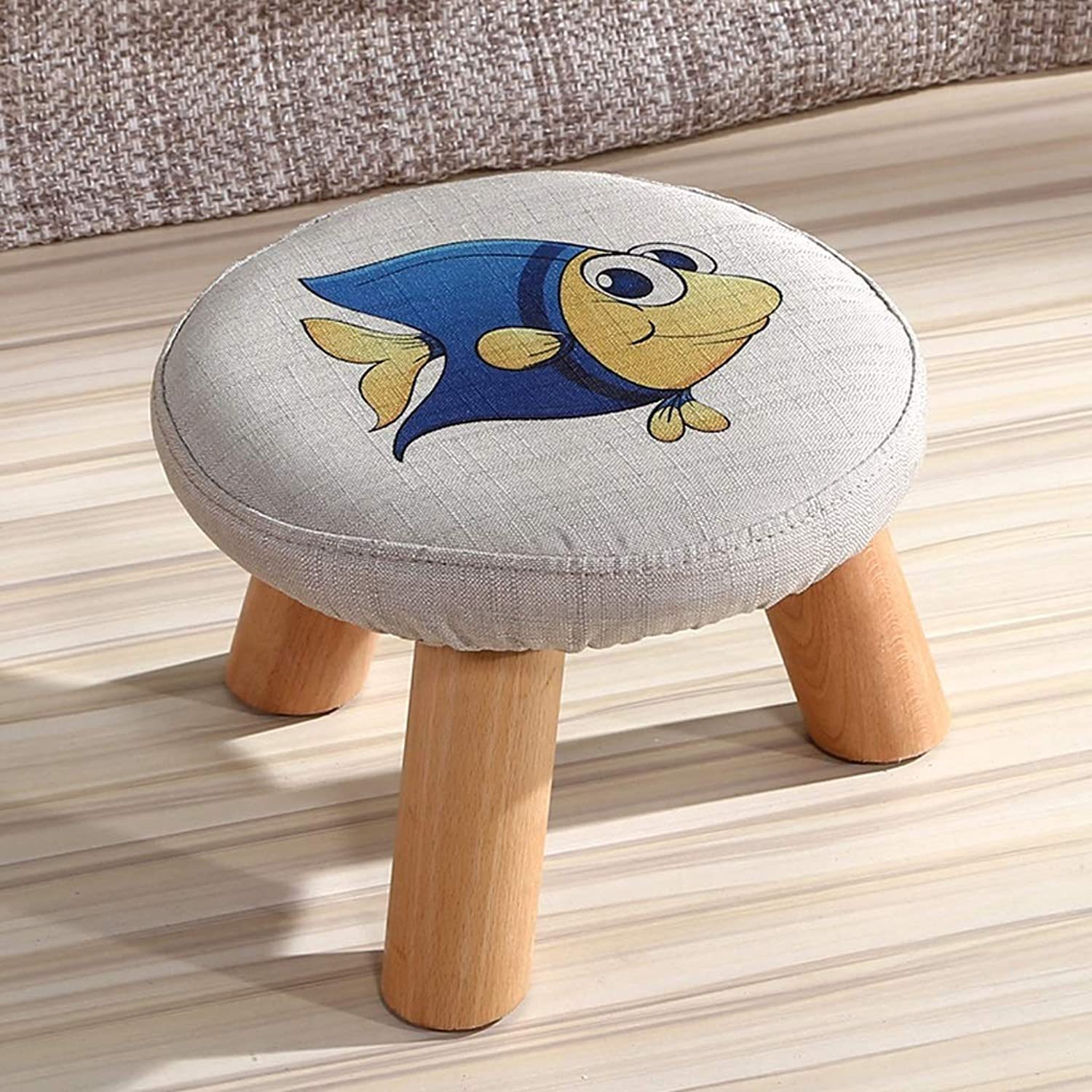 FLYSXP Solid Wood shoes Bench Small Fish Pattern Low Stool Fabric Fashion Creative Small Bench Sofa Bench 29x20cm Stool