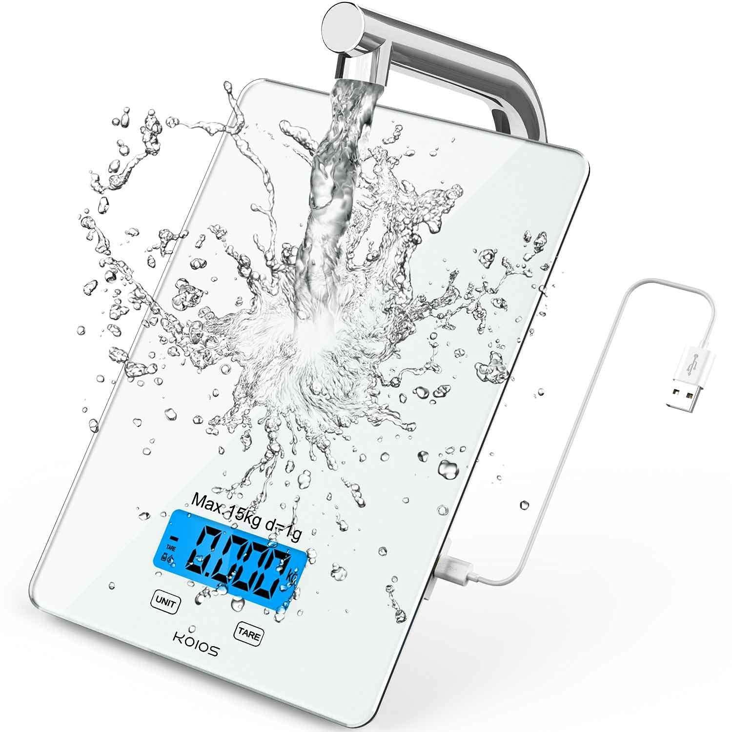 KOIOS Kitchen Scale, 33lb/15Kg Food Scales Digital Weight Grams and oz for Cooking Baking, 1g/0.1oz Precise Graduation, Waterproof Tempered Glass, USB Rechargeable, 6 Weight Units, Tare Function