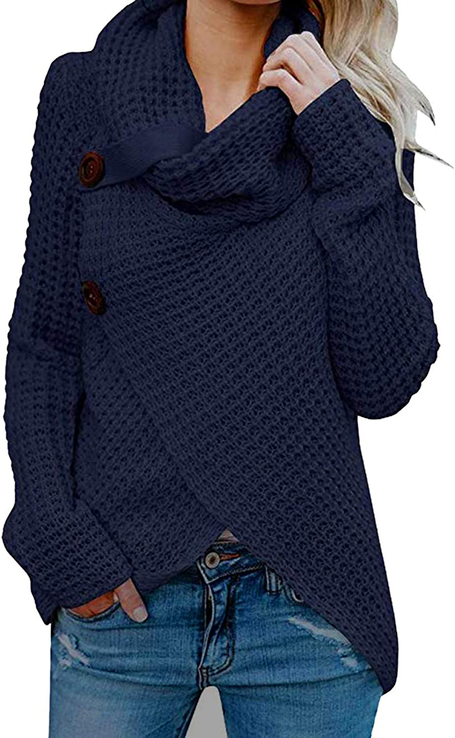 Women's Turtle Cowl Neck Pullover Tops Solid Color Cross Hem Button Knitted Sweater Casual Wrap Tunics