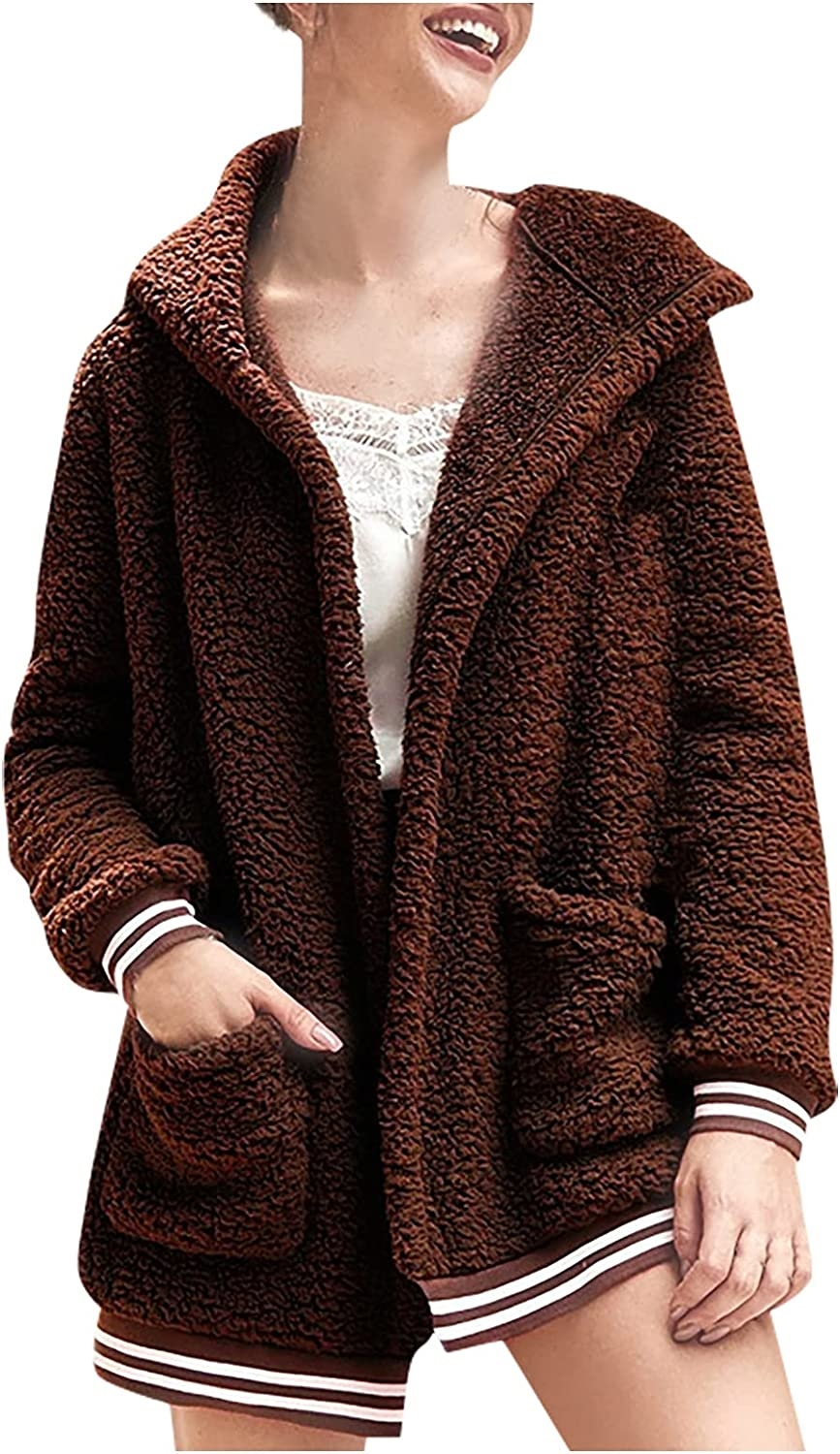 Shaloly Women's Autumn And Winter Loose Solid Color Stitching Long-Sleeved Pockets Plush Hooded Cardigan Coat