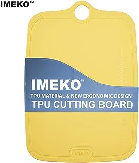 "IMEKO TPU Cutting Board BPA Free Knife Friendly Flexible Dishwasher Safe Space Saving Ergonomic Design Chopping Mat (Yellow - Size : SMALL 11"" X 7.8"" - W : 5.6 oz."
