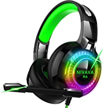 Nivava Gaming Headset for PS4, Xbox One, PC Headphones with Microphone LED Light Mic for..