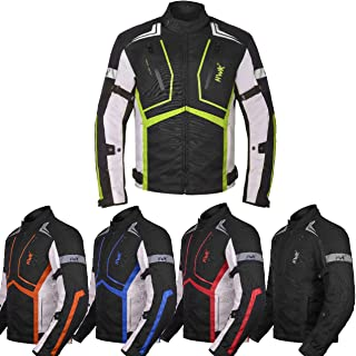 Motorcycle Jacket For Men Cordura Motorbike Racing Biker Riding Breathable CE Armored Waterproof All-Weather (Hi-Vis Green, Large)