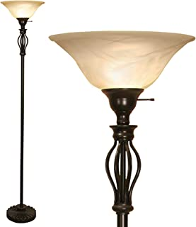 Floor Lamp by Light Accents - Floor Lamp for Living Room - Traditional Iron Scrollwork Standing Pole Light with Alabaster Glass Bowl Shade – Torchiere 70