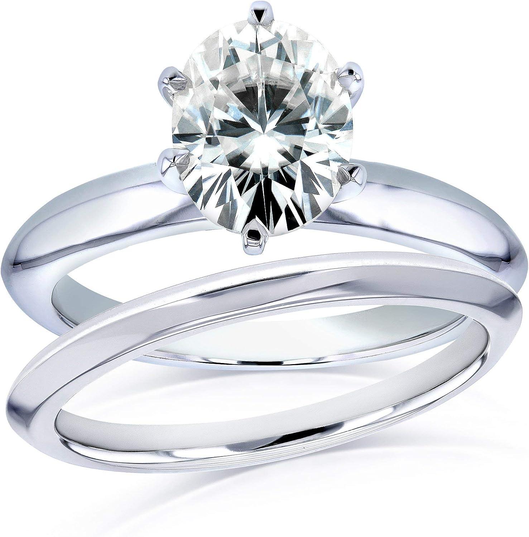 Kobelli Oval Moissanite 6-prong Solitaire Bridal Rings Set 1 1/2 Carat in 14k White Gold