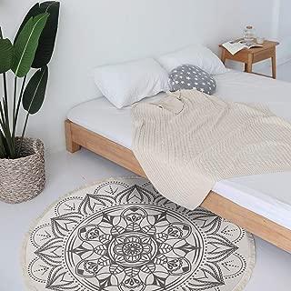 LEEVAN Moroccan Area Rug,Hand Woven Cotton Cream Chic Diamond Printed Throw Rugs Door Mat,Indoor Floor Area Rugs Blanket Compatible Bedroom,Living Room (4' Diameter, Mandala-White and Black)