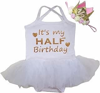 Baby Half Birthday Tulle Tutu Bodysuit & 1/2 Gold Crown Headband