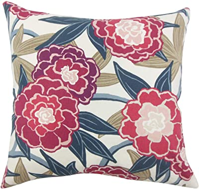 The Pillow Collection Winola Floral Berry Down Filled Throw Pillow