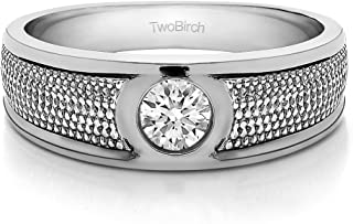 TwoBirch Sterling Silver Solitaire Burnished Men's Wedding Ring with Designed Band With Cubic Zirconia(0.38Ct.)