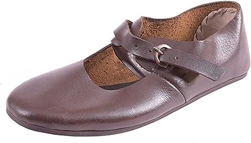 Riemenschuhe mit Schnalle aus Leder - Mittelalterschuhe - Mittelalter LARP Wikinger Schuhe SchuhGröße 42