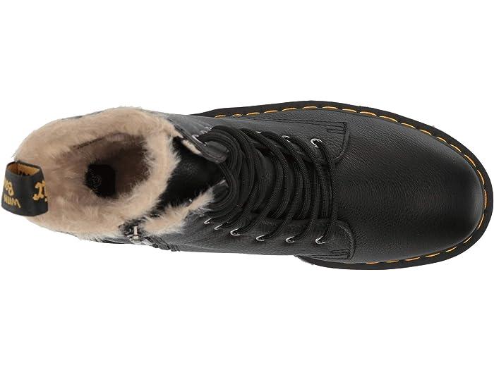 black fur lined doc martens