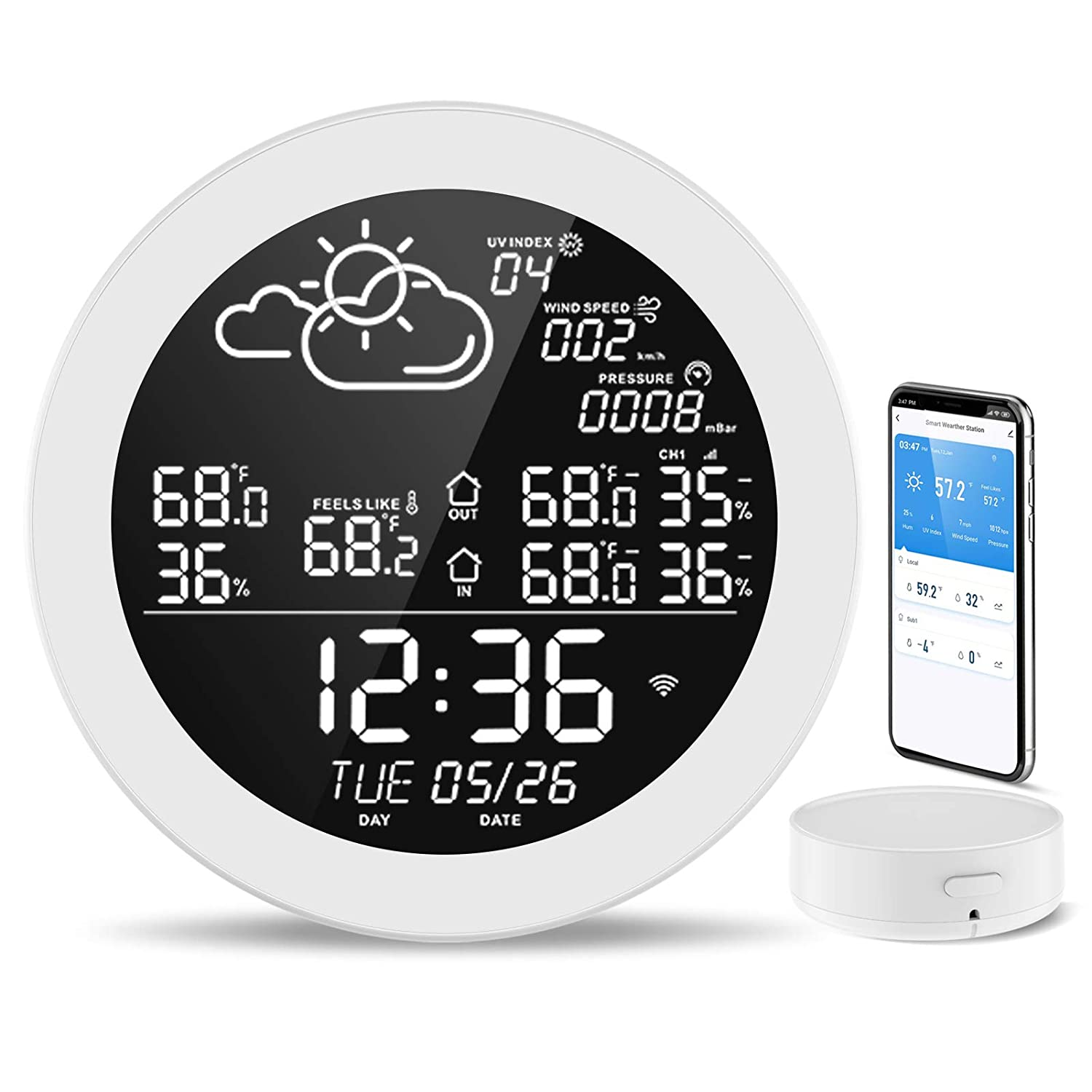 Weather Stations Wireless Indoor Dekala WiFi Remote Weather Station with Indoor Outdoor Thermometer and Humidity Sensor for Home Office Digital Clock with Temperature Alert Forecast Station
