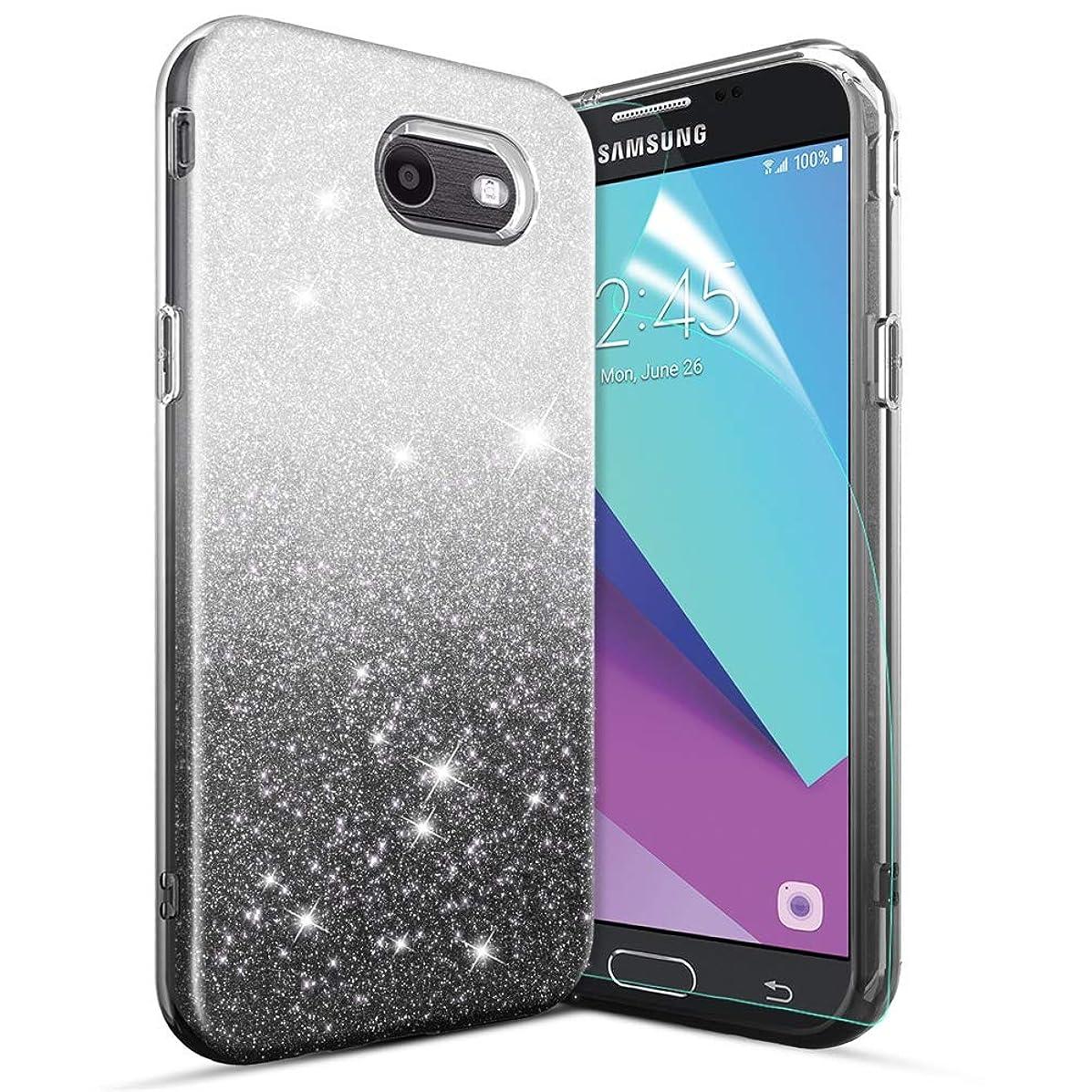 Glitter Case for Galaxy J7 2017/Galaxy J7 Prime/Galaxy J7 Sky Pro/J7 V J7V 2017/Halo/Galaxy J7 Perx Case[Super Sparkly][Slim 3 Layers Hybrid][Anti-Scratch] Bling Phone Case for Girls/Women-Black