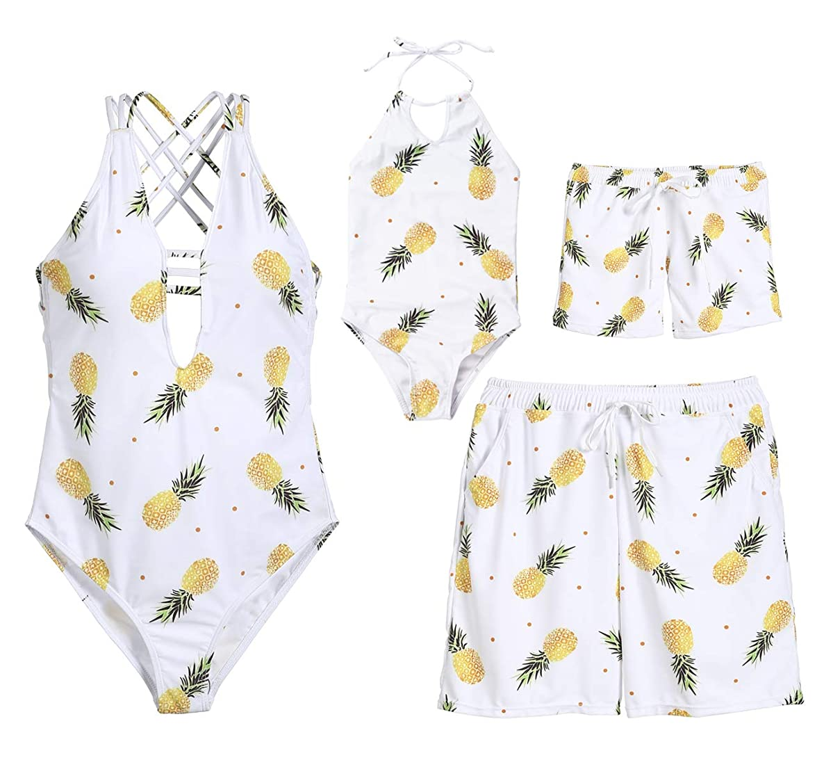 Family Couples Siblings Matching Pineapple Print Beachwear Mom&Girl Spaghetti Straps Monokini Men Boy Swim Shorts