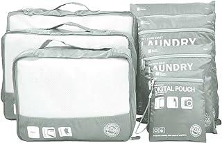 7pcs/9pcs Storage Bag Waterproof Travel Luggage Organizer Packing Cubes Laundry Bag