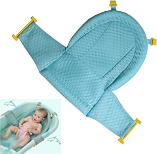 Baby Bath Support Seat, Newborn Shower Mesh for Bathtub, 2018 New Style Adjustable Comfortable Non-Slip Bath Seat for Infant 0-3 Years (Green)