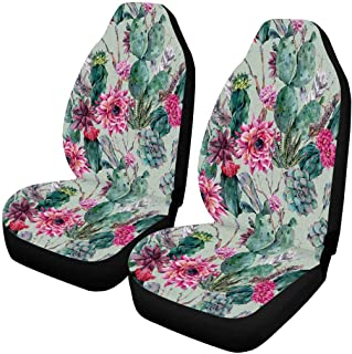 INTERESTPRINT Custom Watercolor Anchor Flowers Car Seat Covers for Front of 2,Vehicle Seat Protector Car Mat Fit Most Car,Truck,SUV,Van