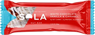 SOLA White Chocolate Vanilla and Caramel Snack Bar, 38g (Pack of 12)