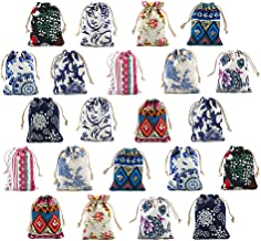 22pcs Retro Ethnic Pattern Cotton Canvas Jewelry Pouch Candy Chocolate Bag Drawstring Coin Purse Sachet Travel Gift Value Storage Set