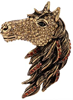 YACQ Women's Big Horse Head Pin Brooches + Pendants 2 in 1 - Scarf Holders - Lead & Nickle Free - (2-1/2 H x 1-1/2 W) Inches - Halloween Costume Accessories