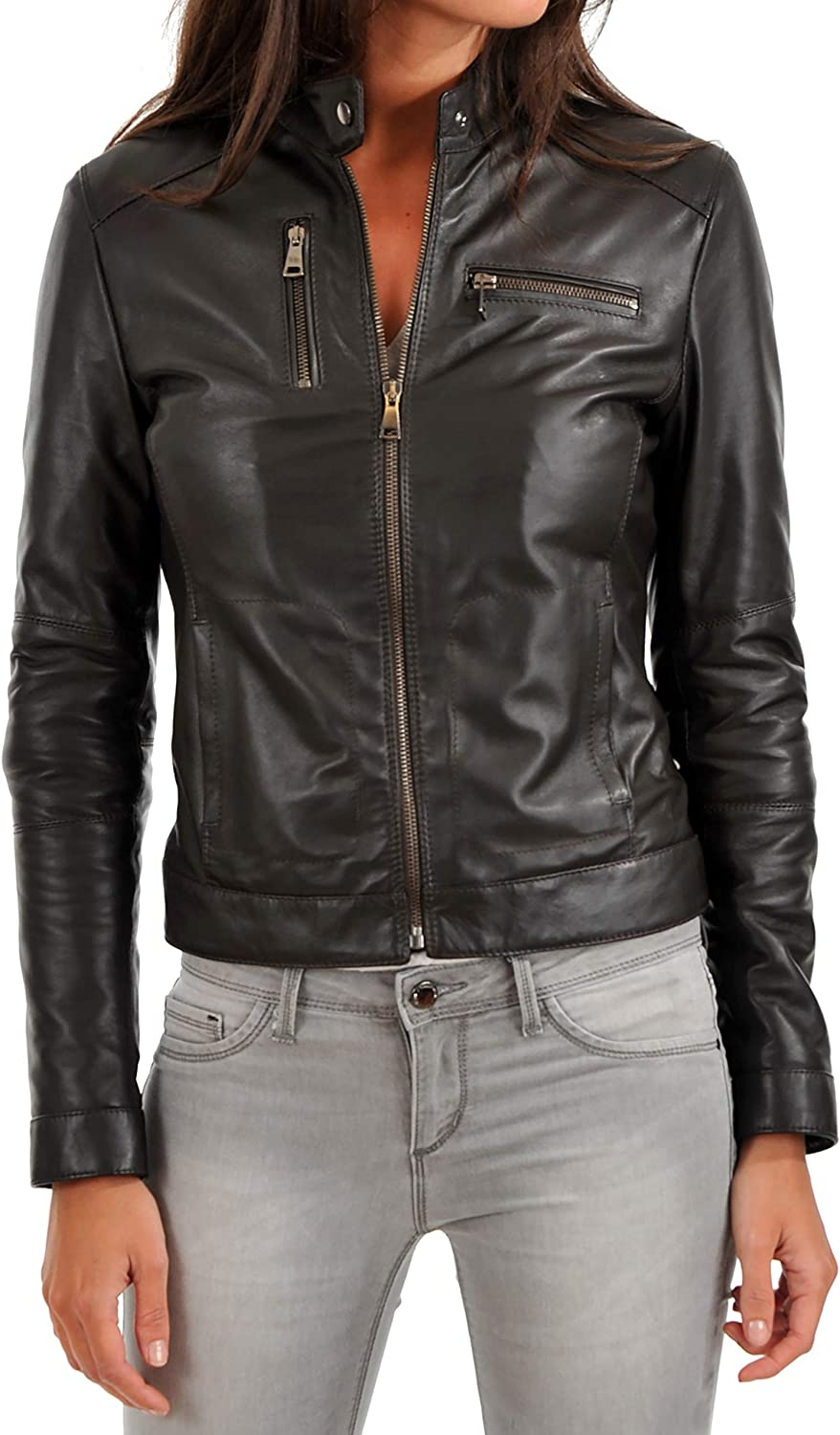 KAINAT Women's Max 40% OFF Motorcycle Bomber Biker Lambskin H Jacket Leather Super popular specialty store