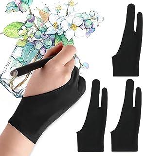 TOPTRY 【3PACK】 液タブ 用 手袋 二本指 グローブ 絵描き手袋 二本指 防汚ライクラ iPad グローブ 液晶ペン タブレット用 対応 左利き 右利き 兼用 防汚 通気性 超軽量 快適 フリーサイズ 男女兼用 ブラック